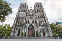 Facade of St. Joseph Cathedral in Hanoi, Vietnam Royalty Free Stock Images