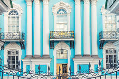 Facade of St. Nicholas Naval Cathedral in St. Petersburg. Facade of St. Nicholas Naval Cathedral in the Baroque architectural style in St. Petersburg in the Stock Photo