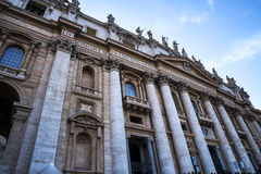 Facade of  St Peter`s Basilica in the Vatican City in Rome Italy Stock Photography