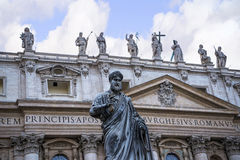Facade of  St Peter`s Basilica in the Vatican City in Rome Italy Royalty Free Stock Photo