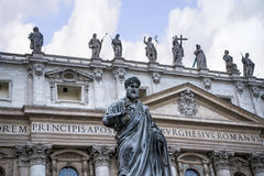 Facade of  St Peter`s Basilica in the Vatican City in Rome Italy Royalty Free Stock Image