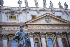 Facade of  St Peter`s Basilica in the Vatican City in Rome Italy Stock Images
