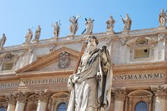 Facade of St Peters Basilica in Vatican. stock photo