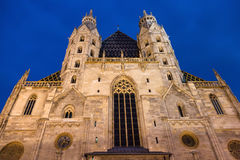 Facade of St Stephen Cathedral in night, Vienna Royalty Free Stock Image