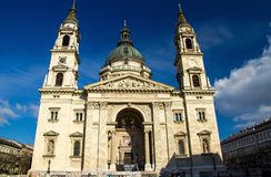 Facade of St. Stephen`s Roman Catholic Basilica,Budapest, Hungar stock images