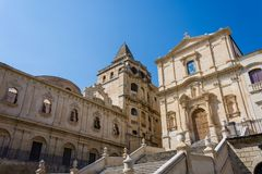 Facade and stairway of the Church of San Francesco d`Assisi at t royalty free stock photo