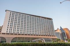 Facade of 4 star Aloft Hotel Abu Dhabi stock images