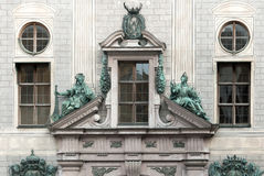 Facade and statuary of the Munich Residence. The Medieval era complex served as a seat of government for Bavarian nobility until 1918 Royalty Free Stock Images