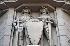 Facade with statues of knights Royalty Free Stock Images