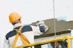 Facade stopping and surfacer works Royalty Free Stock Images
