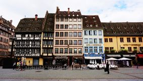Traditional half timbered houses in Strasbourg, France stock photography