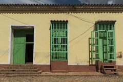 Facade of street house in residential area in Trinidad, Cuba Stock Image