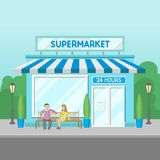 Facade of supermarket building, 24 hour, front view of city house cartoon vector Illustration. On a white background Stock Photo