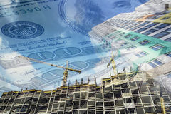 The facade of a tall building in the background of the Bank bills . Royalty Free Stock Images