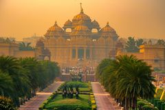 Facade of a temple Akshardham in Delhi, India. Facade of Akshardham or Swaminarayan temple complex in Delhi, India. The largest Hindu mandir in the world Stock Photo