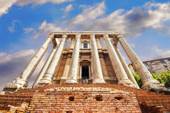 Facade of the Temple of Antoninus and Faustina on the Via Sacra, the Roman Forum, in Rome Stock Photography