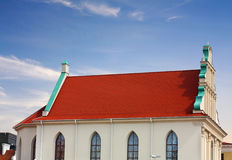 Facade of the temple of the seventeenth century. Gable of the medieval structure in the style of the Northern Renaissance stock image