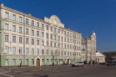 Facade of a tenement house in the old town of Moscow, Russia. stock photography