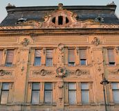 Facade of 19th century building in Sibiu, Romania Royalty Free Stock Images