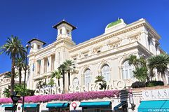 Facade of th Municipal Gambling Casino San Remo, Liguria Italy. stock photos