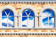 Facade  with three windows Royalty Free Stock Photos