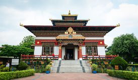 Facade of Tibetan temple in Gaya, India.  Royalty Free Stock Image