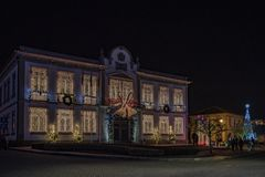 Facade of the tonw hall decorations and christmas light from the village of Vila Nova de Cerveira royalty free stock image