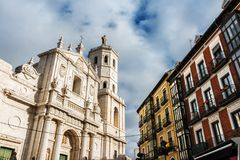 Facade and tower of the Cathedral of Valladolid. Front facade and tower of Valladolid`s Cathedral Catedral de Nuestra Señora de la Asunción, a Roman Catholic Stock Image