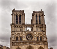 Facade Towers Overcast Notre Dame Cathedral Paris France Stock Photos