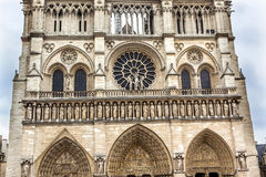 Facade Towers Overcast Notre Dame Cathedral Paris France Stock Photography