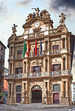 Facade of the Town Hall of Pamplona Royalty Free Stock Image
