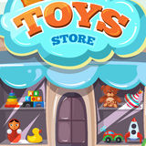 Facade of toy store. Vector illustration isolate on light background Royalty Free Stock Images
