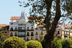 Facade of traditional buildings in madrid, Royalty Free Stock Photography