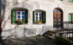 Facade of Traditional House in Engadin Royalty Free Stock Images