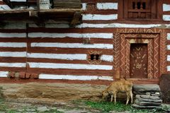 Facade of the traditional house in Old Manali in India. Himachal Pradesh royalty free stock photography
