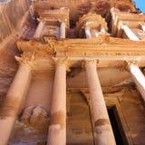 Facade The Treasury al-khazneh temple in Petra Stock Images