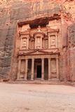 Facade of the Treasury. In Petra, Jordan Royalty Free Stock Photos