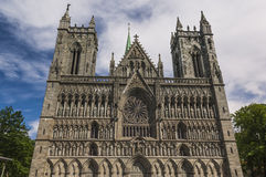 The Facade of Trondheim Cathedral Stock Images