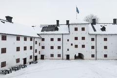 Facade of Turku castle bailey and inner courtyard Royalty Free Stock Photography