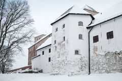 Facade of Turku castle bailey in winter day Royalty Free Stock Image