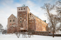 Facade of Turku Castle in winter Royalty Free Stock Photography