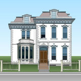 Facade two-storey house, decorated with stucco. Individuality in construction of house. Elements of classics in appearance of hous. E. Cosy country house. Vector Royalty Free Stock Photo