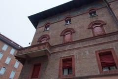 Facade of typical building in Bologna. Emilia Romagna , Italy. Stock Photos