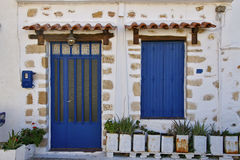 The facade of a typical Greek house.Crete Island, Greece Stock Photography