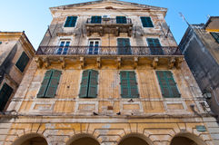 Facade of the typical Venetian building in Kerkyra city on the island of Corfu, Greece. Stock Photo