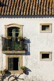 Facade. Typical whitewashed house. Obidos. Portugal Stock Images