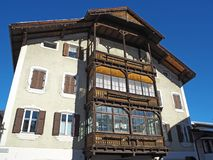 Facade of the Tyrolean traditional house Stock Image