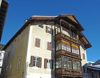 Facade of the Tyrolean traditional house Stock Photo