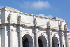 Facade of the Union Station Building in Washington DC. Marble statues on the facade of the Union Station Building Royalty Free Stock Images