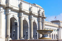Facade of the Union Station in Washington DC. Union Station building in the early summer morning Stock Images